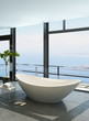 Expensive luxury bathtub against panoramic window with seascape