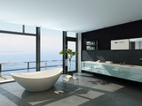 Fototapety Expensive luxury bathtub against panoramic window