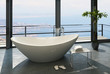 Expensive luxury bathtub against panoramic window with nice view