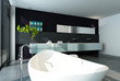 Contemporary bathroom interior with black wall