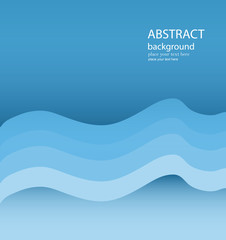 Abstract Blue Wavy Lines Vector Background