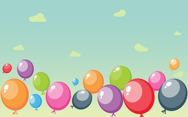 Festive balloons background with sky and clouds
