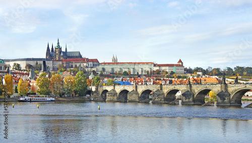 Foto op Canvas Praag Prague Castle and Charles bridge, Czech Republic