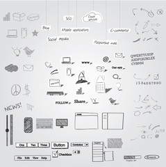 Large collection of hand drawn and cutout symbols