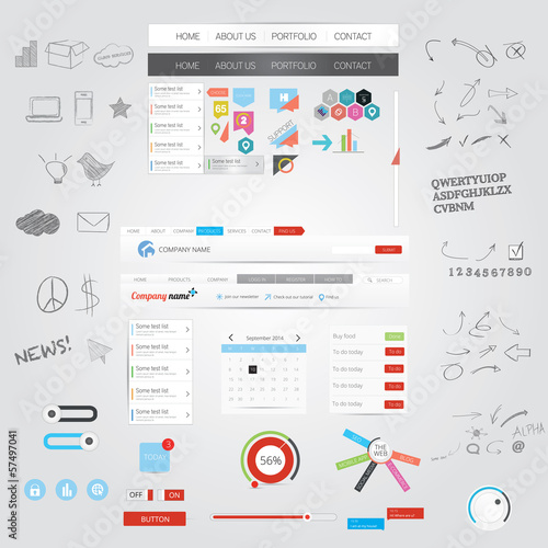 Web graphics and hand drawn design elements