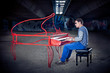 Young pianist play on his piano with bright emotions,