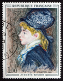 Postage stamp France 1968 Portrait of Model, by Auguste Renoir