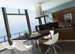 Stylish kitchen interior with cooking island and seascape view