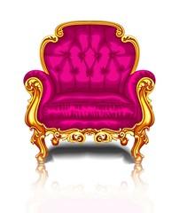 Ярко розовое кресло с золотой отделкой