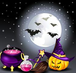 Звездное небо и луна в ночь хеллоуина
