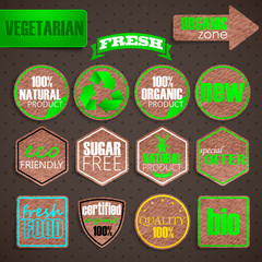 organic food labels. vintage labels with cardboard texture