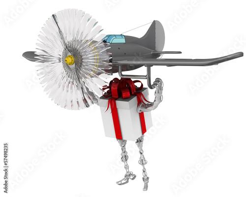Подарочная коробка в виде робота летит на самолете