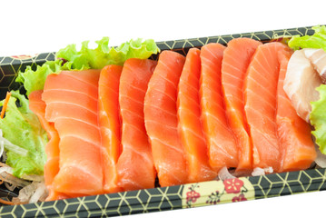 Closeup of fresh sliced sashimi isolated on white background