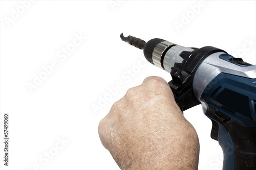 Hands Holding Electric Drilling Machine With Bit