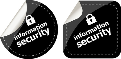information security black stickers label tag set
