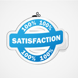 "Etiquette ""100% SATISFACTION"" (service clients qualité avis)"