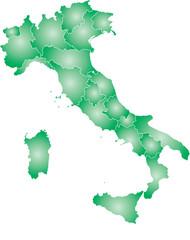 Italia vettoriale colorata con regioni