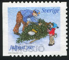 Christmas tree to sled