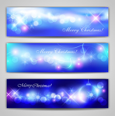 Christmas vector banners with neon lights