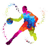 basket ball player with colored dots