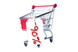 Shopping cart with 90 percent discount isolated on white