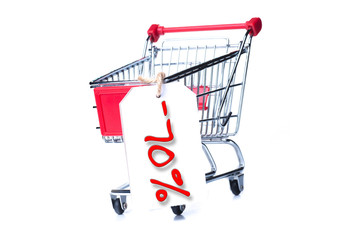 Shopping cart with 70 percent discount isolated on white