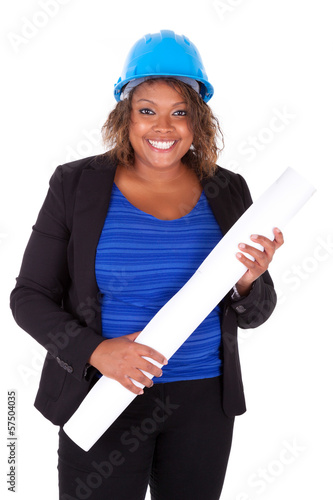 Confident Black African American woman architect smiling