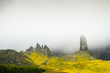 The old man of Storr rock and fog, Isle of Skye. Scotland