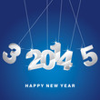 Happy New Year 3D silver 2014 vector