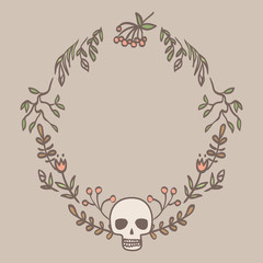 gothic vignette with skull, flowers and leaves in pastel colors