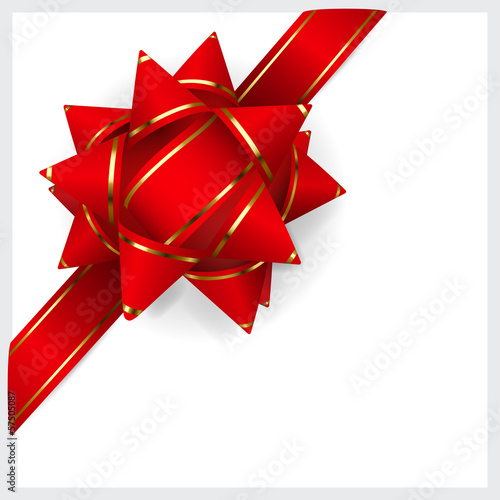 Bow made of red ribbon with golden strips