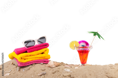 canvas print picture Beach sand with towels and cocktail