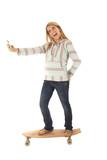 Young girl skateboarding taking selfies poster