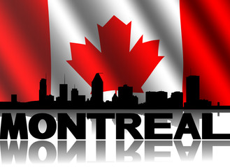 Montreal skyline text with rippled Canadian flag illustration
