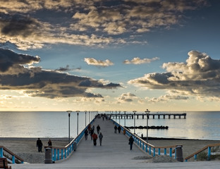 Marine pier in resort of Palanga just before sunrise