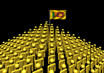 Pyramid of abstract people with Sri Lanka flag illustration