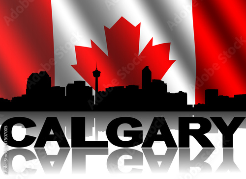 Calgary skyline text with rippled Canadian flag illustration