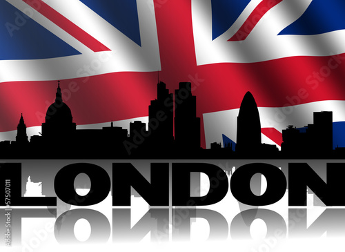 London skyline text reflected with British flag illustration