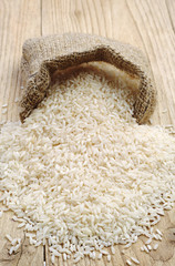 Rice in wooden table