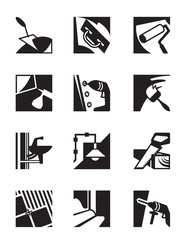 Construction tools and materials - vector illustration