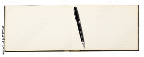 blank page of note book with ball pen,  isolated on white