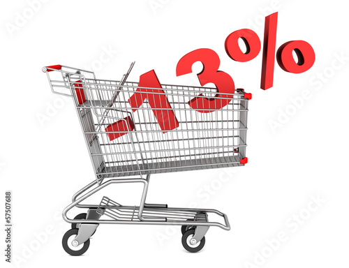 shopping cart with 13 percent discount isolated on white backgro