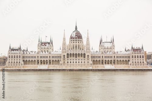 Parliament in Budapest on a Snowy Day