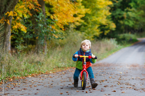 Cute toddler boy of two years riding bike in autumn forest