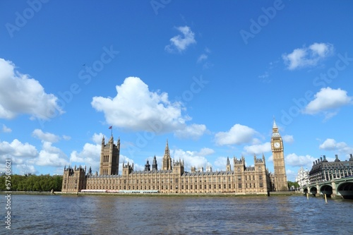 London, UK - Houses of Parliament and Thames river