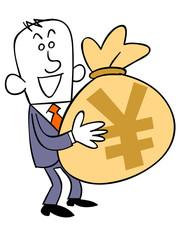 円の入った袋を持つビジネスマン