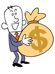 ドルの入った袋を持つビジネスマン