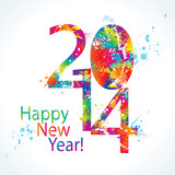 New Year's card 2014 with colorful drops and sprays. Vector