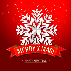 Christmas card with paper snowflake and inscription on the red