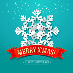 Christmas card with paper snowflake and inscription on a ribbon